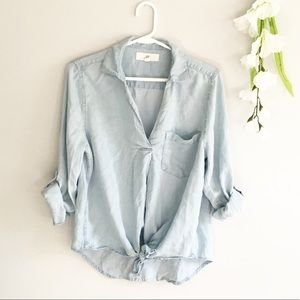 Thread + Supply V Neck Chambray Tie Front Blouse